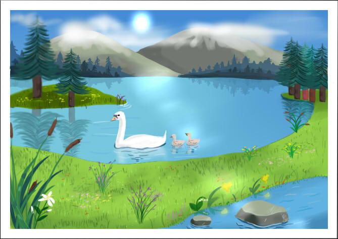 Озеро картинка нарисованная