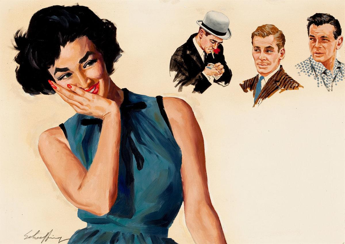Ретро картинки мужчины и женщины, смешные позитивные