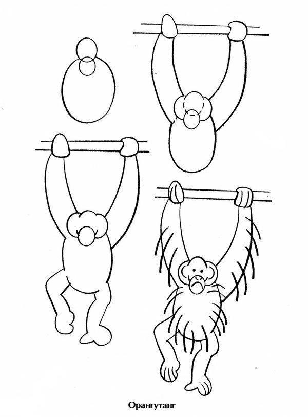 Нарисовать обезьянку для детей
