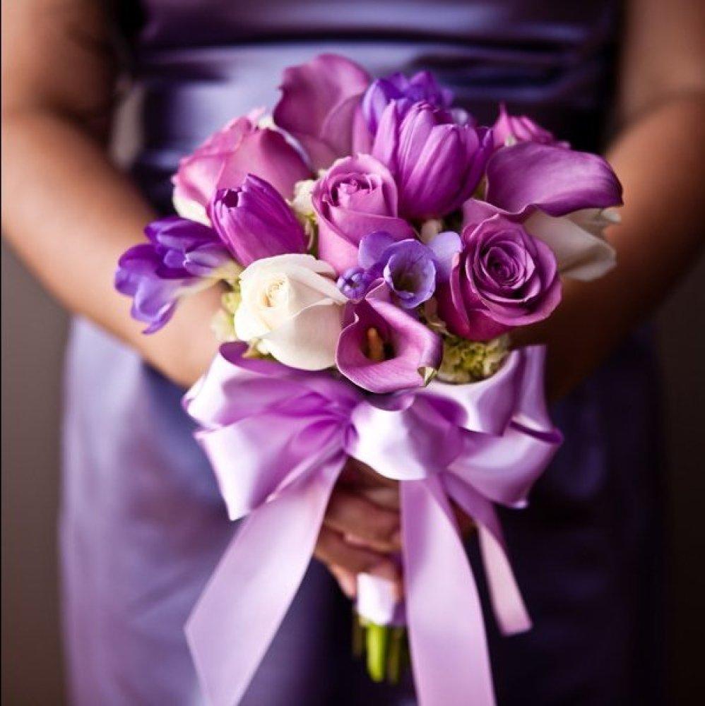 Букет невесты фиолетовый сиреневом цвете фото