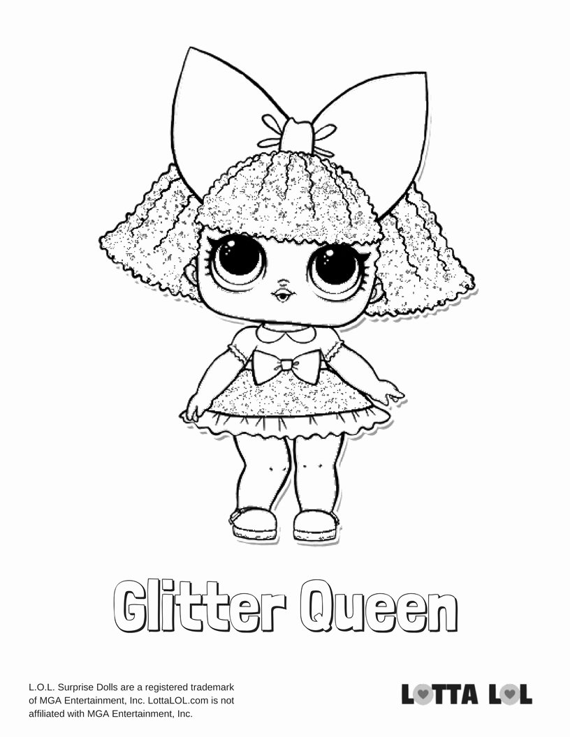 Glitter Queen Lol Surprise Doll Coloring Page Lotta Lol Card From