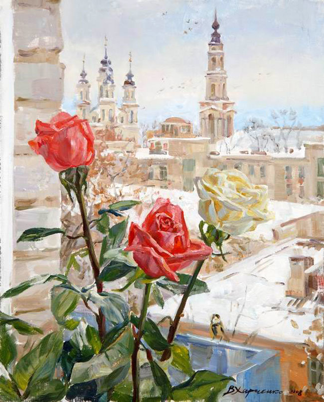 Открытка роза в окне