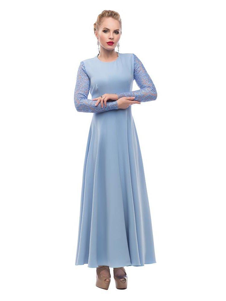 данной статье платье в пол с рукавами голубое фото самые