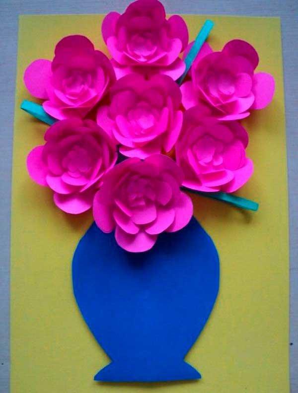 Открытки для, открытка ваза с цветами к 8 марта