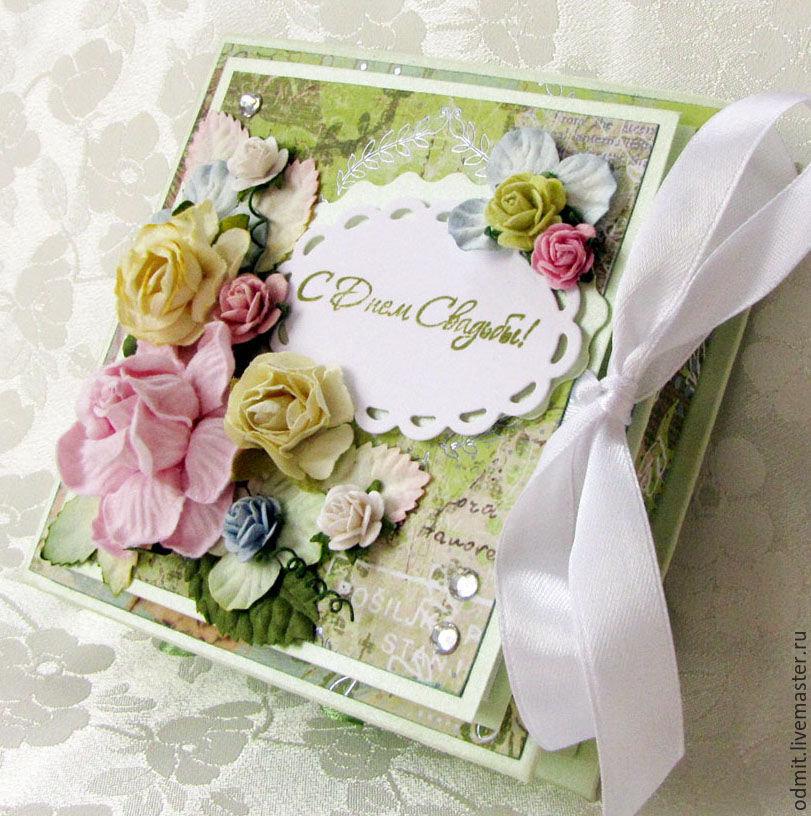Открытка в технике скрапбукинг на день свадьбы, открытка рисунок