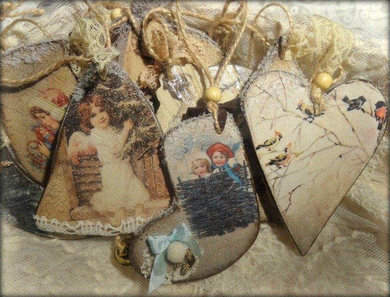 Деревянная открытка декупаж