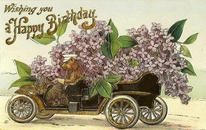 подойдут пожелания в день рождение на старинных открытках нас