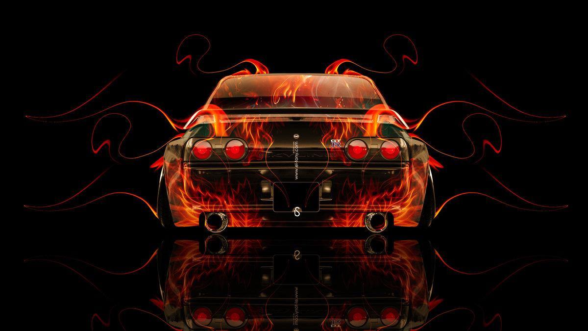 Nissan Skyline GTR R32 JDM Back Fire Abstract