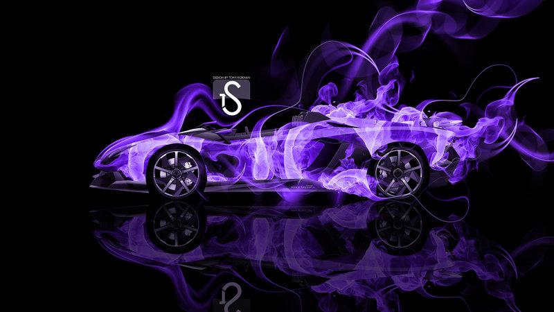Lamborghini Aventador J Violet Fire Abstract Car 2014