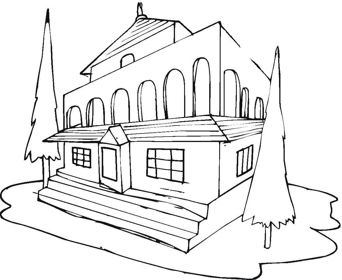 раскраска картинки зданий фотки
