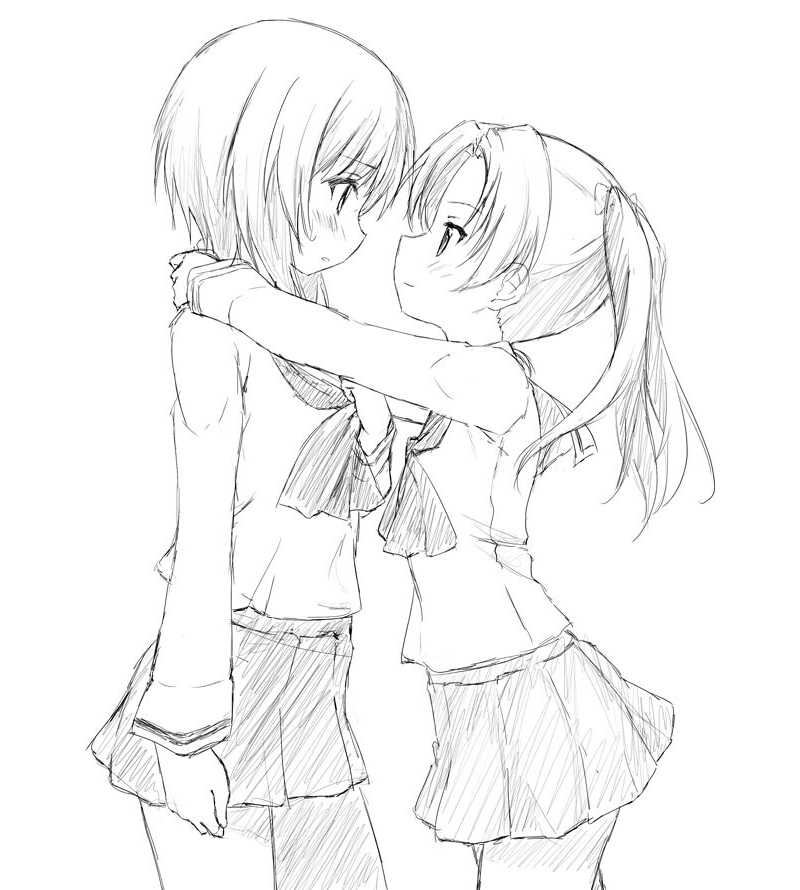 Картинки двух девушек карандашом