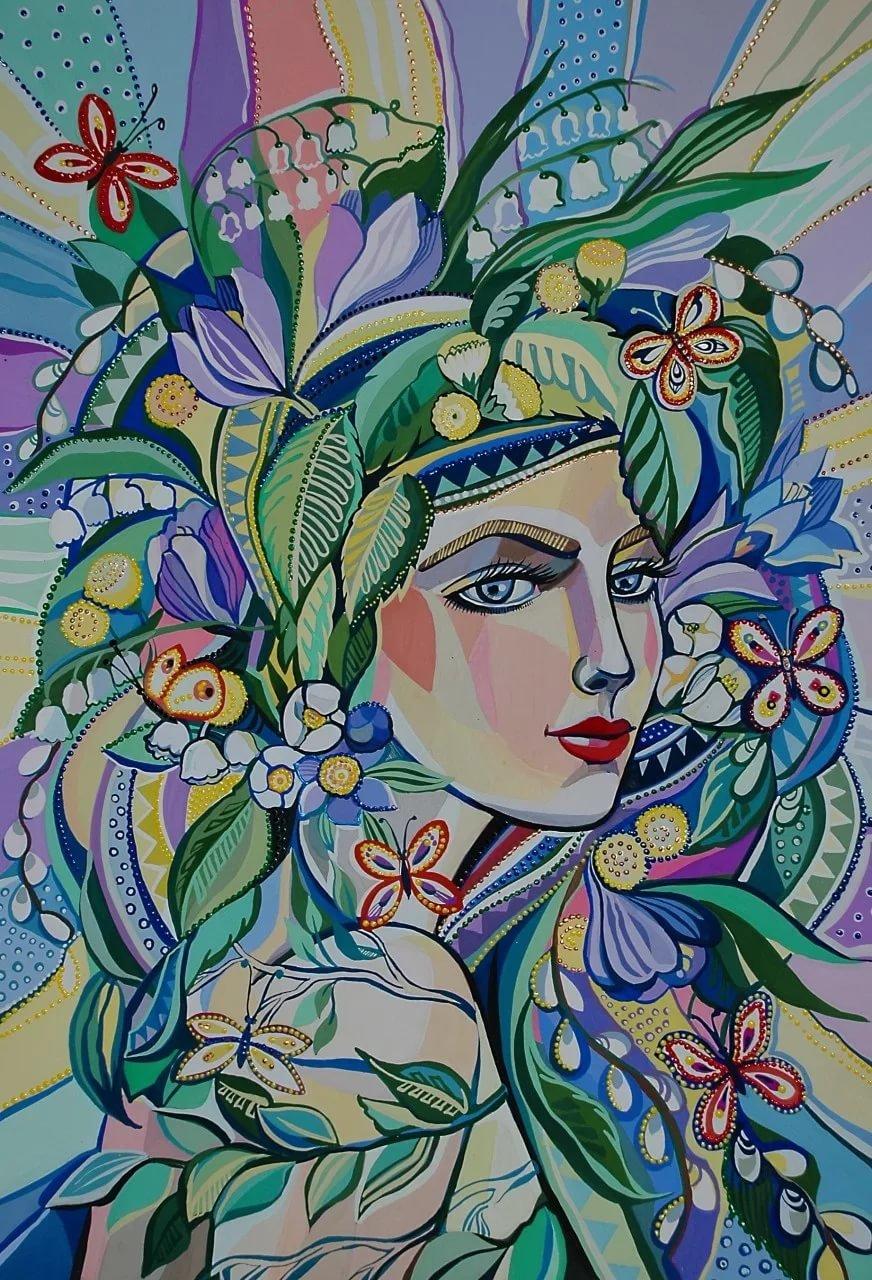 Картинки девушка весна нарисованные, выходной