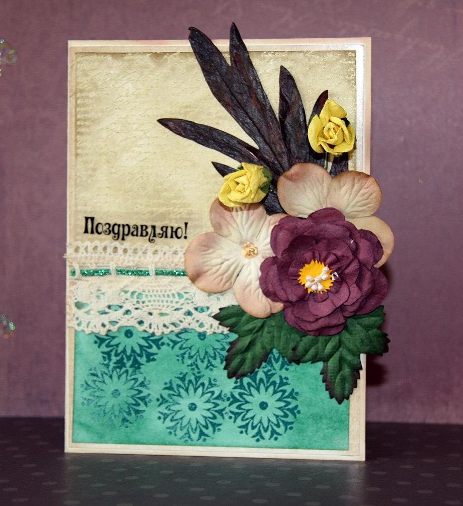 Картинки, самодельная открытка цветы