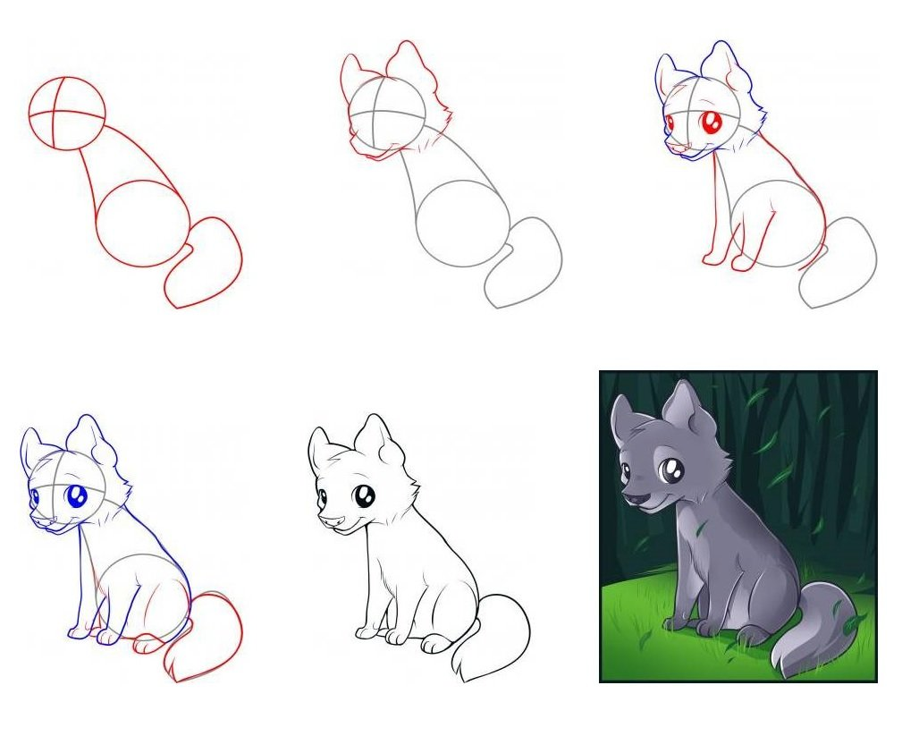 рисунки поэтапно животные волк это те, кто