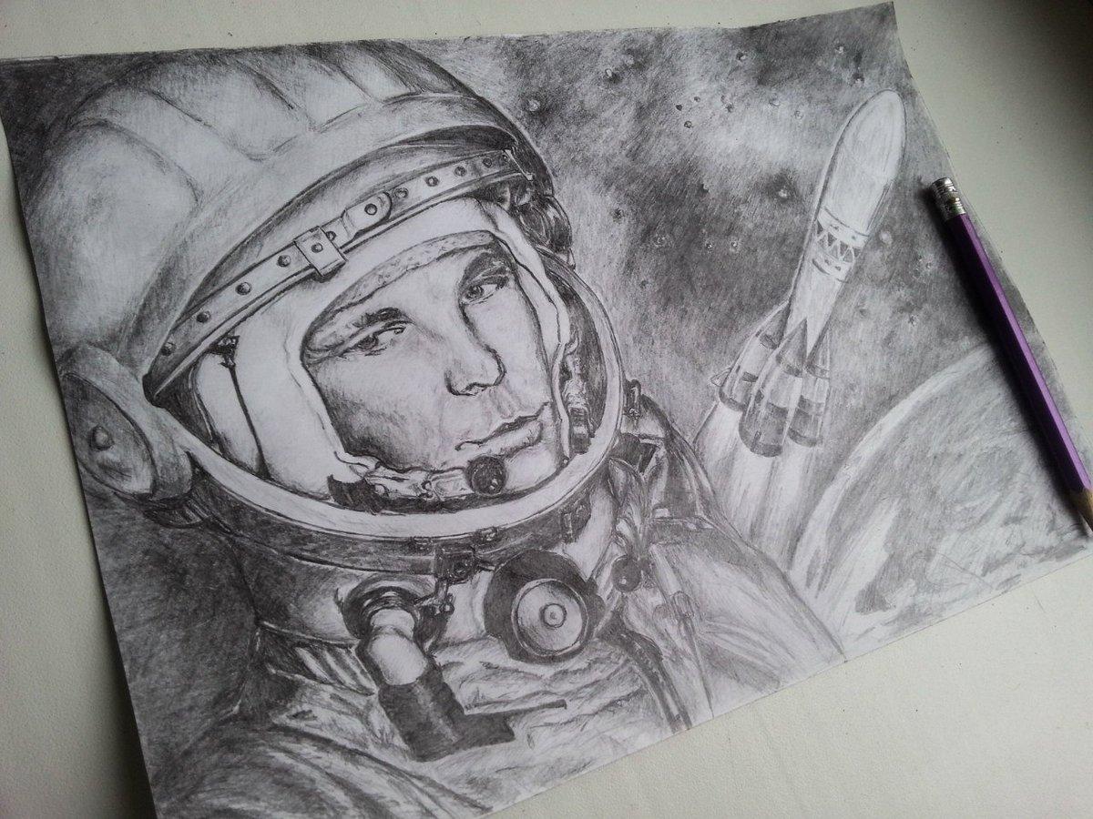 Картинка на день космонавтики карандашом