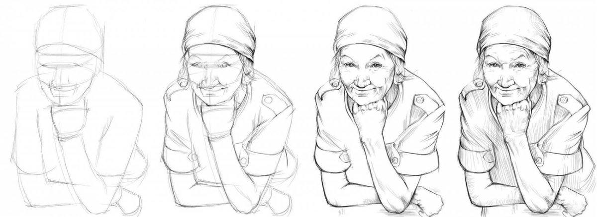 Как рисовать поэтапно открытки бабушке