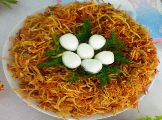 салат гнездо глухаря оригенальный рецепт