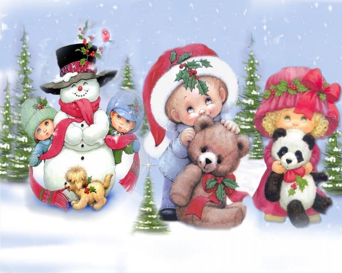Веселые новогодние открытки для детей, анимация души