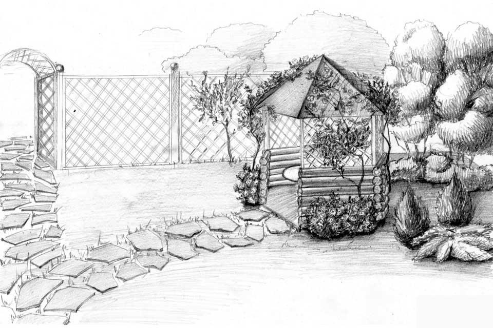 картинки для рисования в саду карандашом того как