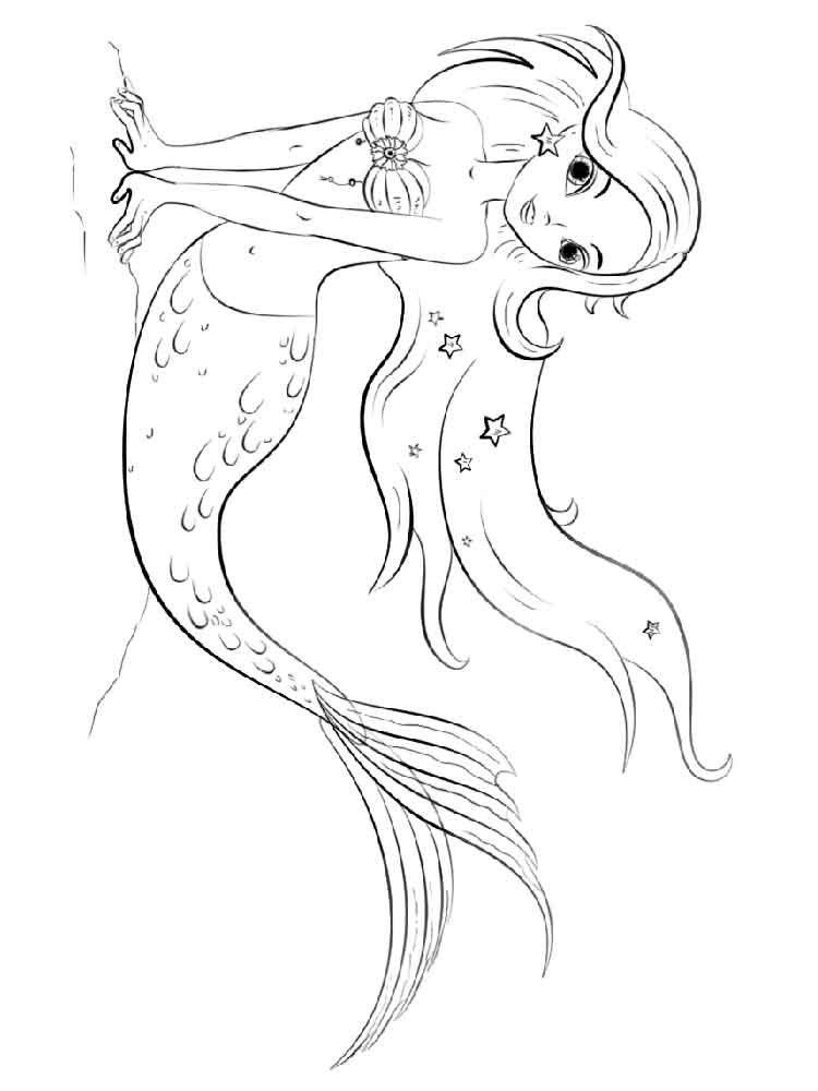 Картинка русалка разукрашка