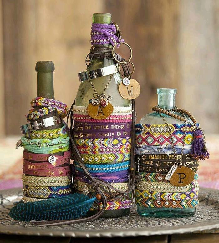 поделка из стеклянной бутылки выбрали плетение