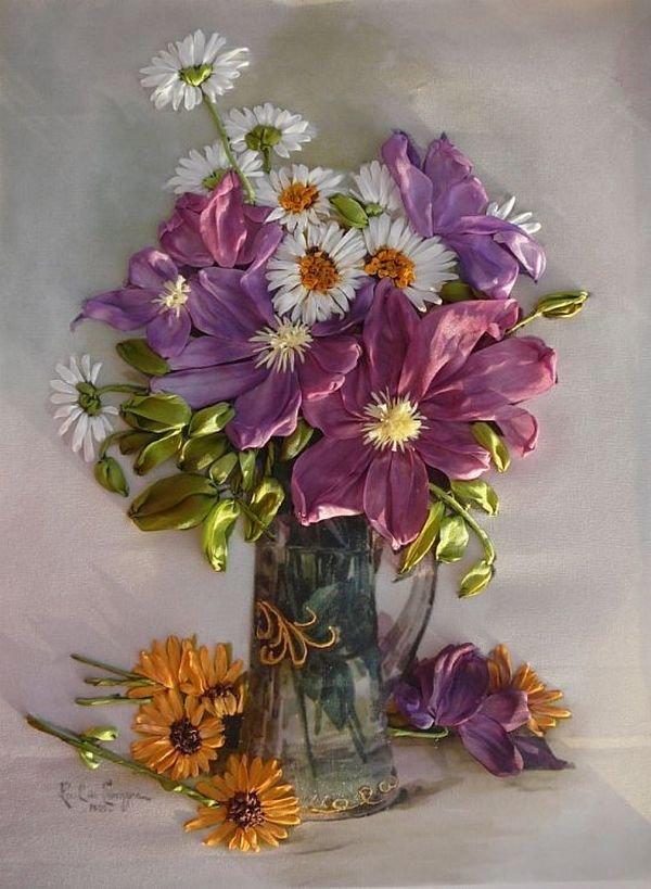 Картинки с цветами вышиты лентами