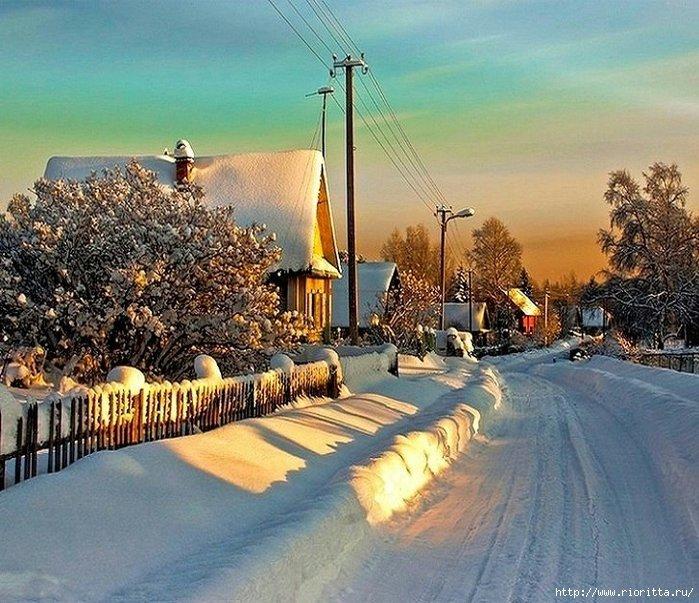 Открытки, картинки зимнего вечера в деревне
