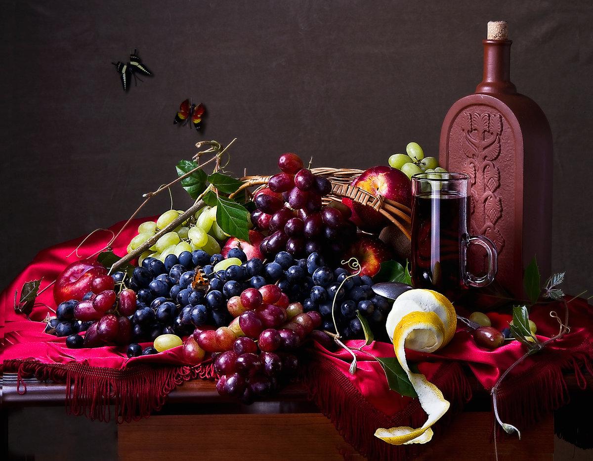 Омска, открытка с фруктами и вином