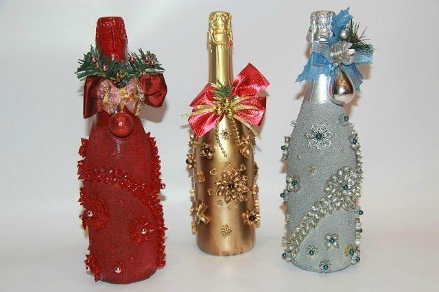 украшение новогодних бутылок шампанского фото бесплатно широкоформатные