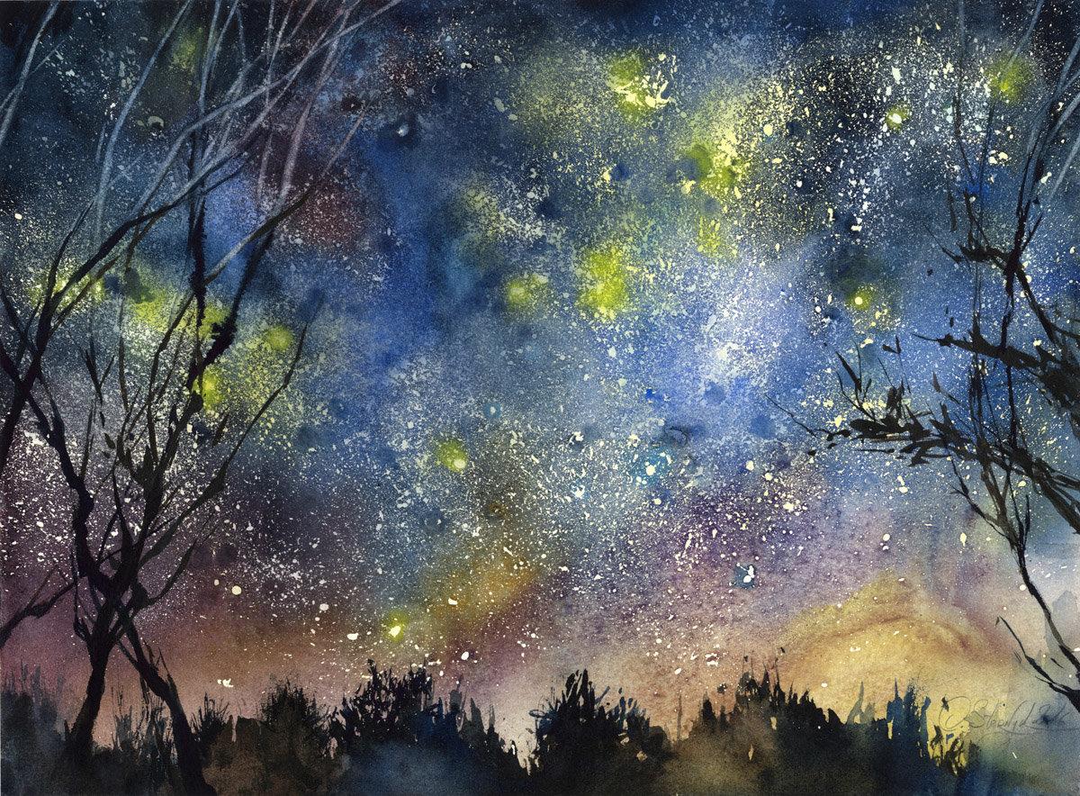 Звездное небо рисунок акварелью, открытки день