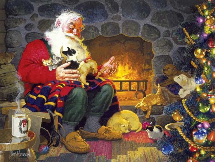 Дед Мороз у камина