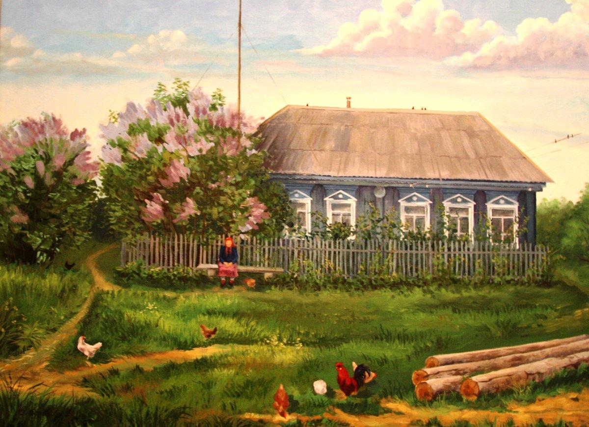 Картинка нарисованная деревня