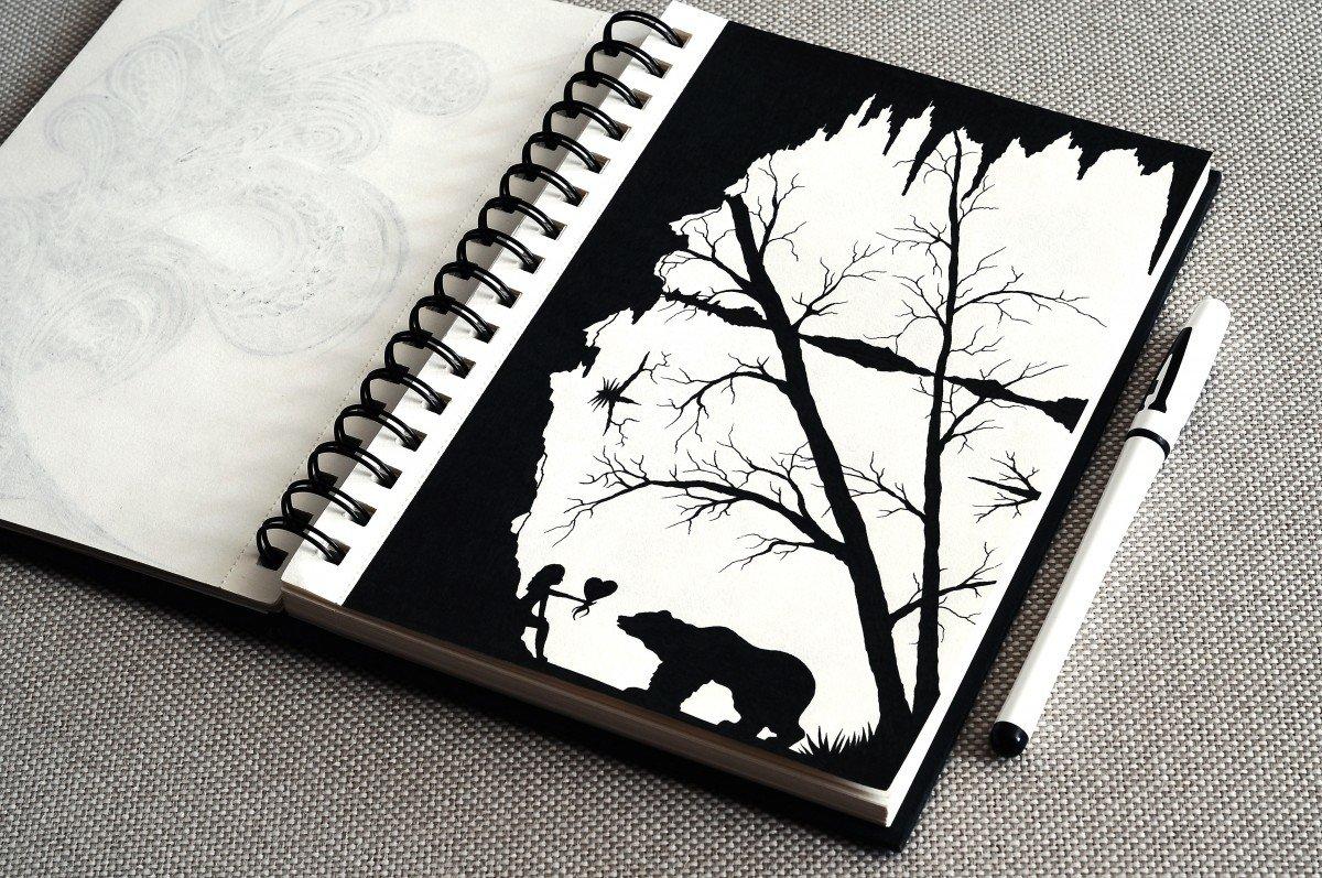 Картинки черной ручкой в блокноте