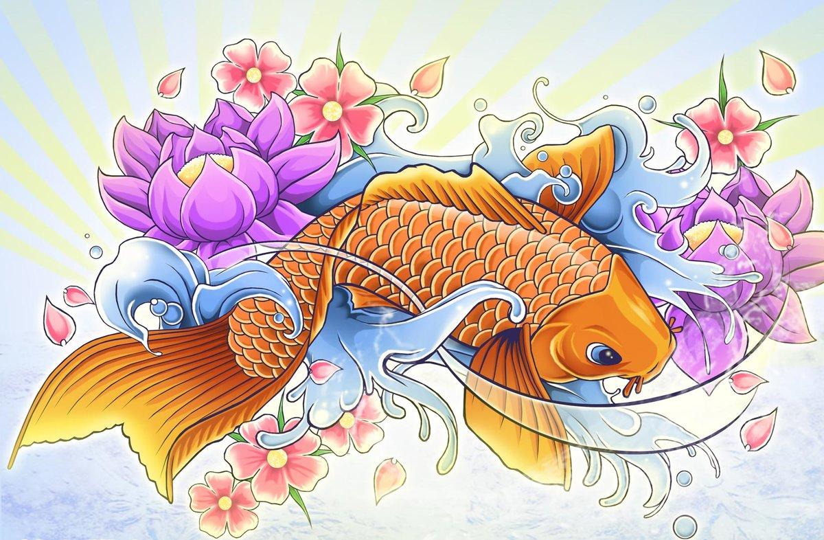 цветы картинки с рыбками внутреннем