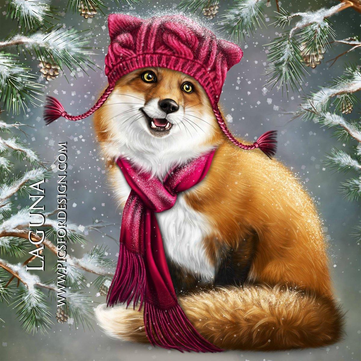 2012 годом, открытка с лисой на новый год
