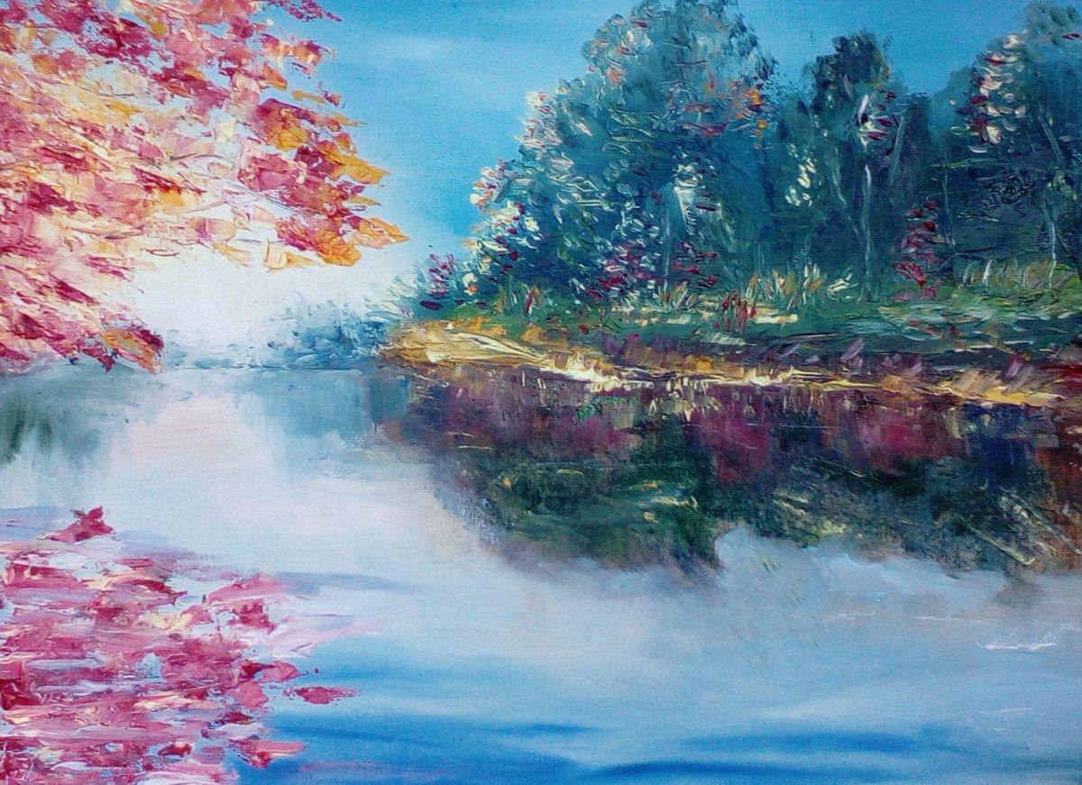 фото рисования пейзажа охотничьего замка, облицованного