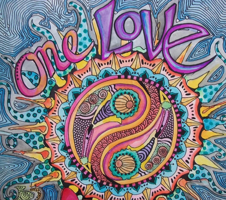 one love singleton art hippie art original love mandala card