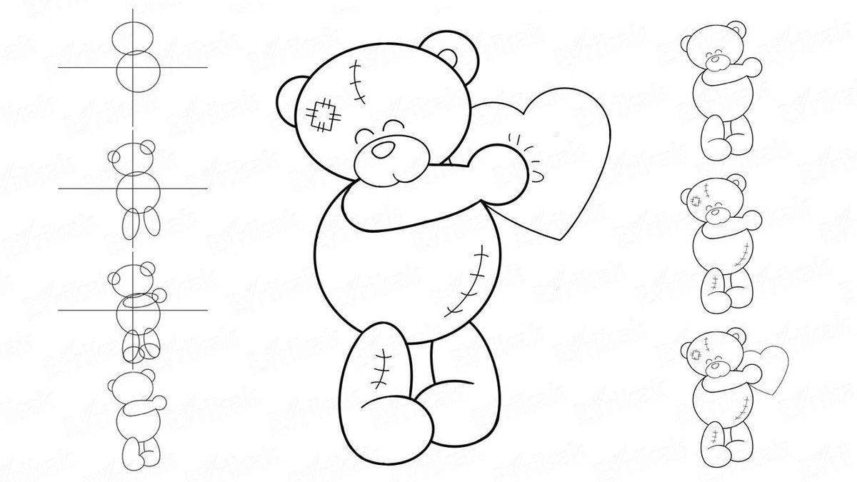 Картинки поэтапно мишка тедди поэтапно карандашом
