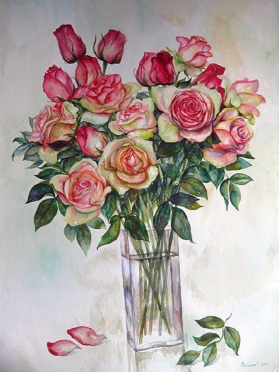Пионовидные свадебные, букет из 15 роз акварелью поэтапно