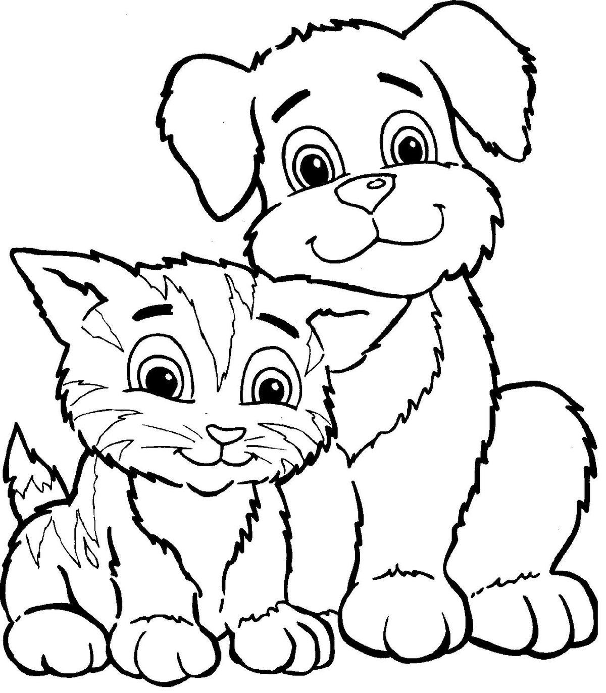 Картинка кошек и собак нарисованные