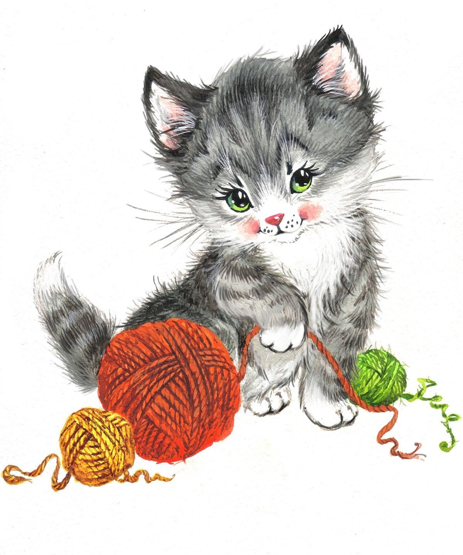 Нарисованные картинки с котятами, открыток своими
