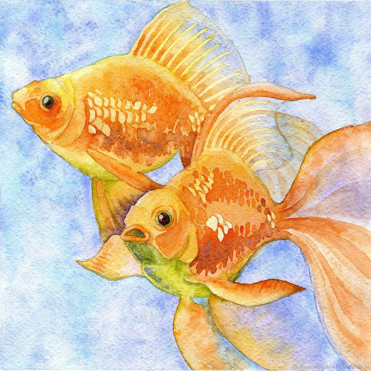 Картинка на голубом фоне девять золотых рыбок