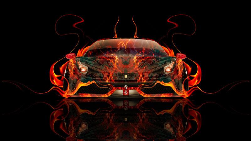 Ferrari 458 Italia Front Fire Abstract Car 2014