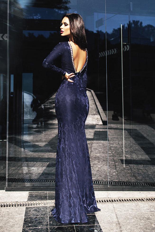 20d98d2d3da Темно-синее длинное вечернее кружевное платье с открытой спиной ...