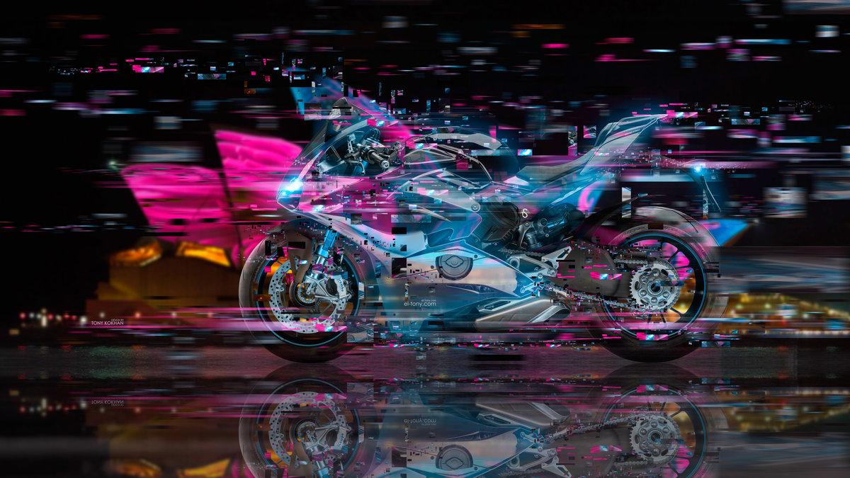 Moto Ducati Panigale V4 Super Crystal City Night