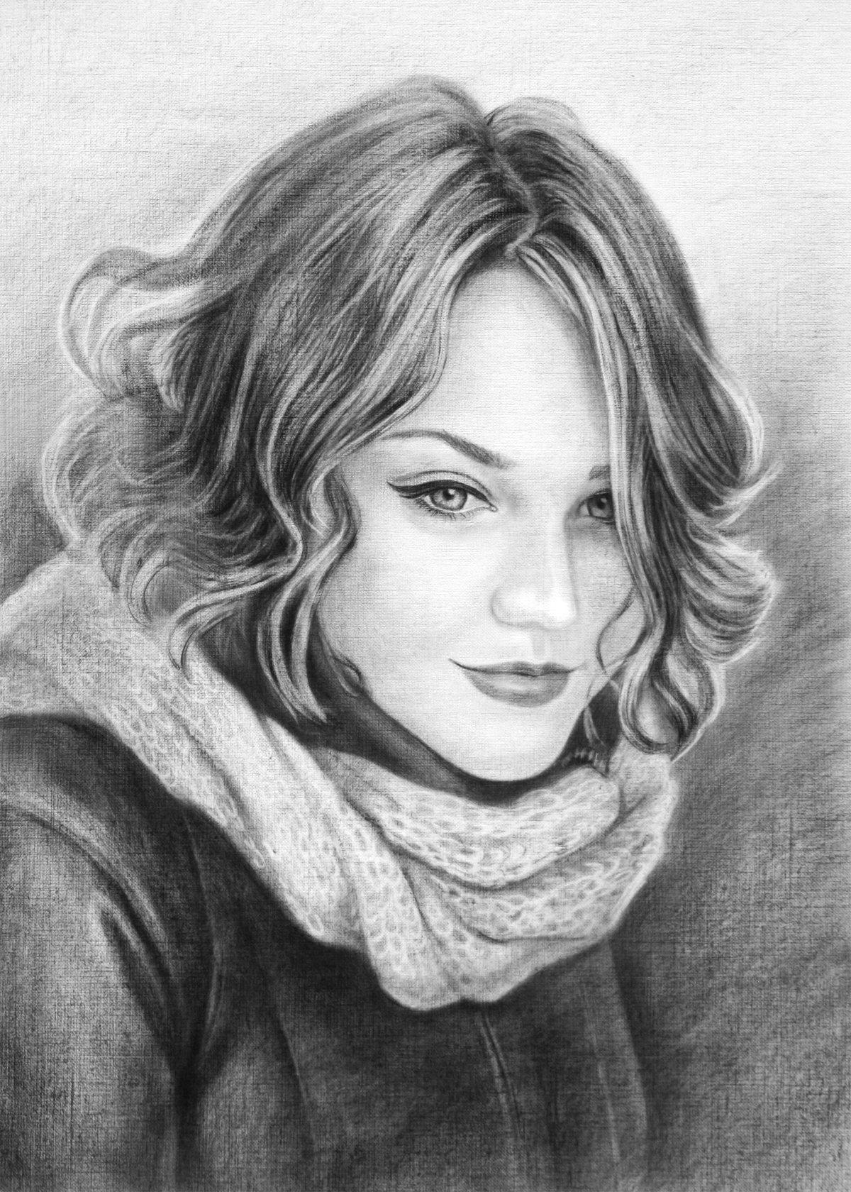 Картинки женщина нарисованная карандашом