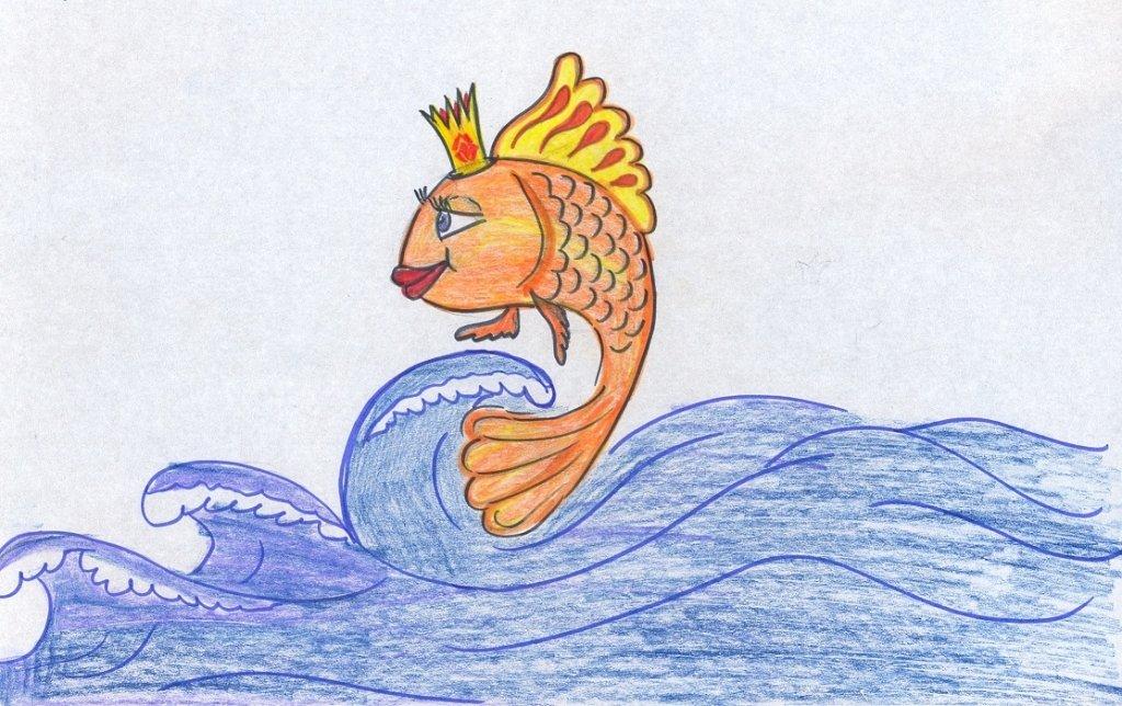 Золотая рыбка сказка рисунки карандашом