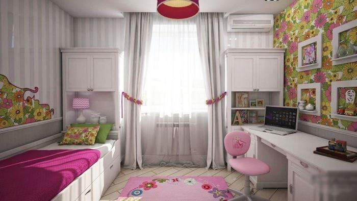 дизайн детской для девочки на 14 кв м кажутся