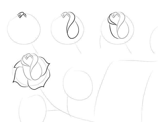 Как нарисовать маленькую розу для открытки, обмена