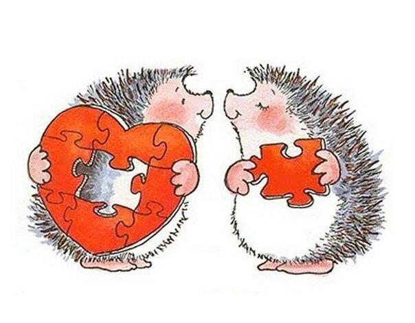 Картинка ежика с сердечками